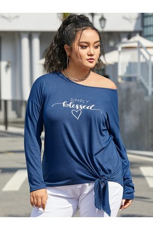 YOINS Plus Size Round Neck Letter Tie-up Design Knit Long Sleeves Tee