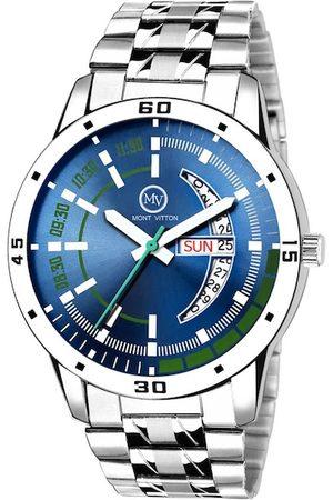 MONTVITTON Men Watches - Men Blue & Silver-Toned Analogue Watch MV1224