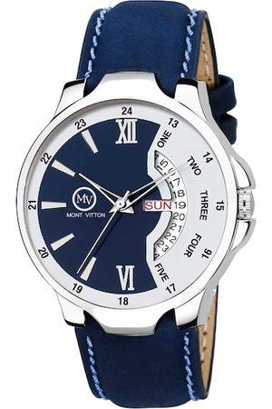 MONTVITTON Men Navy Blue & White Analogue Watch MV2821