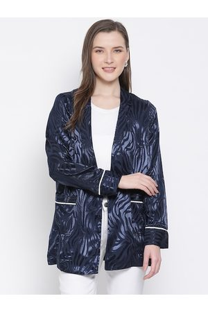 Oxolloxo Women Navy Blue Self Design Blazer