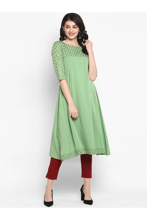 Janasya Women Green & Gold-Coloured Gotta Patti Printed A-Line Kurta