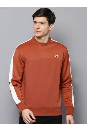 Ben Sherman Men Rust Orange Solid Sweatshirt