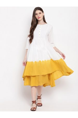 Janasya Women Off-White Colourblocked Fit and Flare Cotton Dress