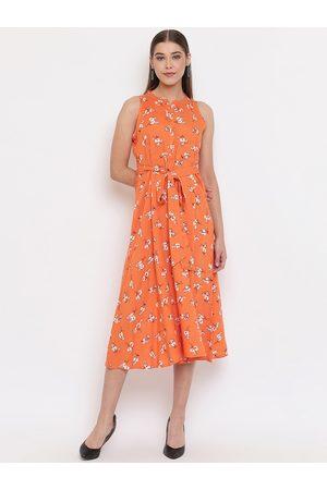 Janasya Women Orange Printed Fit and Flare Dress