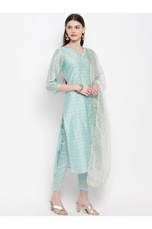 Janasya Women Blue Printed Kurta with Trousers & Dupatta