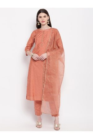 Janasya Women Peach-Coloured Self Design Kurta with Trousers & Dupatta
