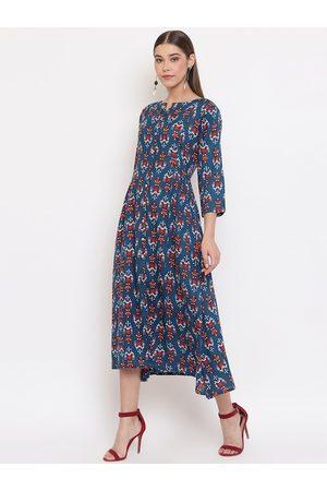 Janasya Women Blue Printed A-Line Dress