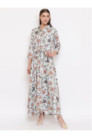 Janasya Women Blue Printed Maxi Dress