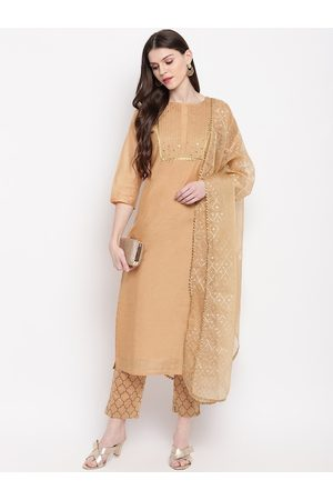 Janasya Women Gold-Coloured Embroidered Kurta with Trousers & Dupatta
