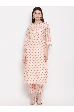Janasya Women Peach-Coloured Printed Kurta with Trousers