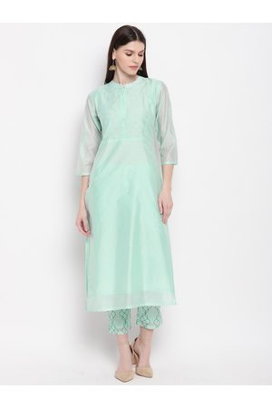 Janasya Women Green Yoke Design Kurta with Trousers