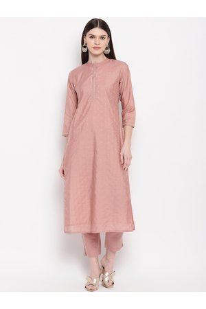 Janasya Women Pink Embroidered Kurta with Trousers