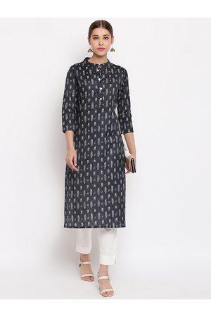 Janasya Women Grey & White Printed Straight Kurta