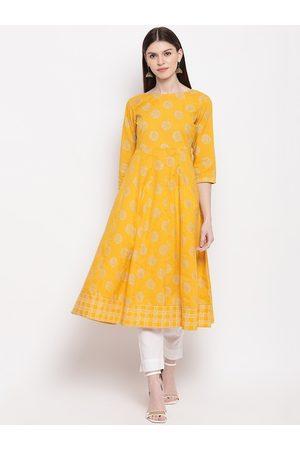 Janasya Women Kurtas - Women Yellow & Gold-Toned Printed Anarkali Kurta