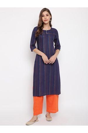Janasya Women Blue & Orange Striped Kurta with Trousers