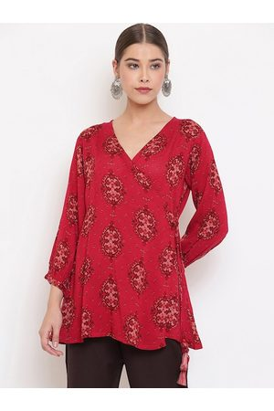 Janasya Women Maroon Printed Wrap Top