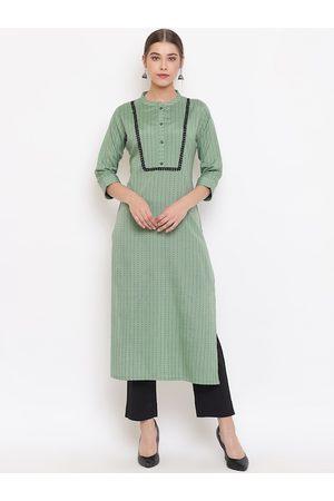 Janasya Women Green & Black Striped Cotton Kurta with Trousers