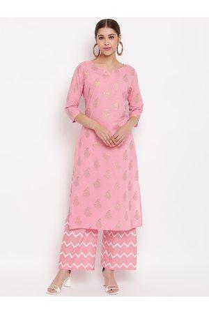 Janasya Women Palazzos - Women Pink & Gold-Toned Printed Pure Cotton Kurta with Palazzos
