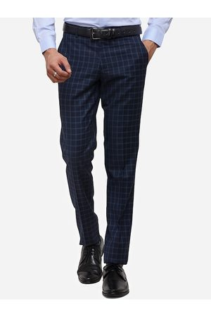 JADE BLUE Men Navy Blue Skinny Fit Checked Formal Trousers