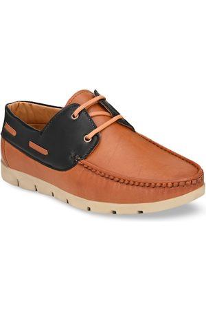 Azzaro Men Tan Brown & Black Colourblocked Boat Shoes