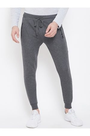 Duke Men Grey Solid Joggers