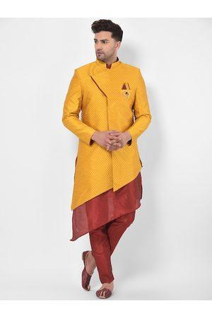 SG RAJASAHAB Men Yellow & Maroon Sherwani Set With Anchkan