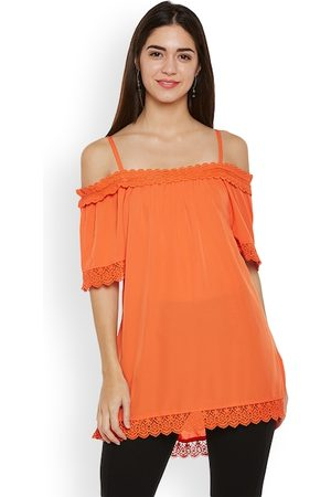 Oxolloxo Women Orange Solid A-Line Off Shoulder Top
