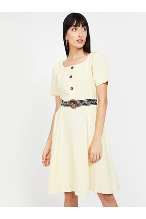 Lifestyle Women Dresses - Women Yellow Solid Linen Fit and Flare Dress