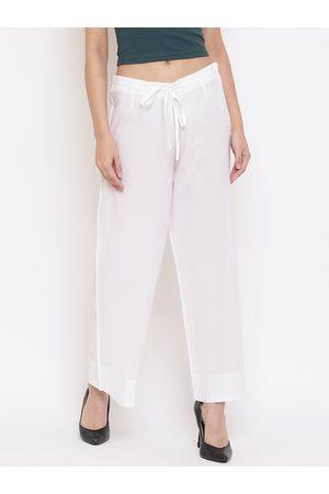 Janasya Women White Self Design Straight Palazzos