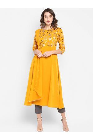 Janasya Women Mustard Yellow Printed A-Line Kurta