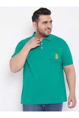Bigbanana Men Sea Green Solid Polo Collar T-shirt