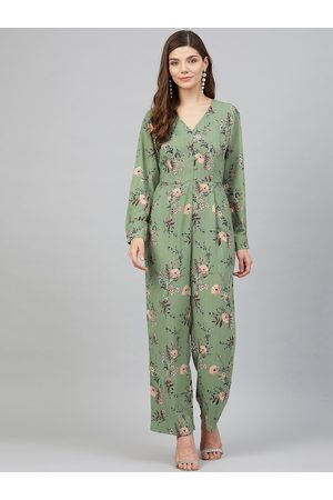 Marie Claire Women Green & Pink Printed Basic Jumpsuit