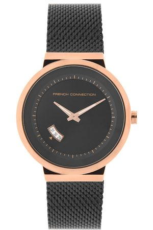 French Connection Men Black & Rose Gold Analogue Watch