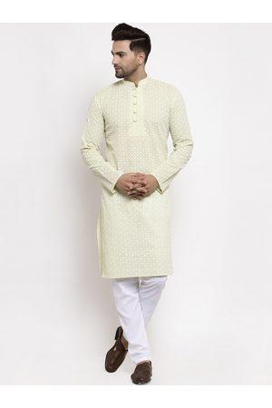 Jompers Men Green & White Embroidered Cotton Kurta with Pyjamas