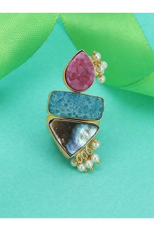 Adwitiya Collection Women Gold-Plated Pink Semi Precious Stone-Studded Handcrafted Gin & Toniq Adjustable Finger Ring