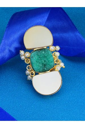 Adwitiya Collection Women Gold-Plated White Semi Precious Stone-Studded Handcrafted Gin & Toniq Adjustable Finger Ring