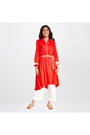 Global Desi Women Kurtis - Women Solid High-Neck Shirt Kurta