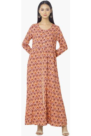 INDYA Women Printed Maxi Dress with Button Placket