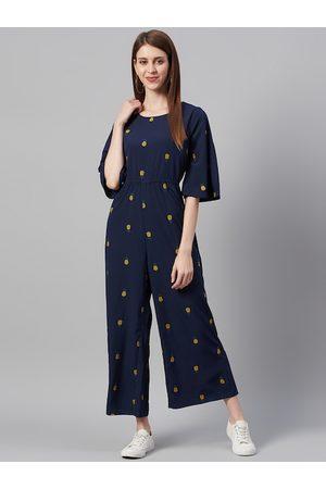 Juniper Women Jumpsuits - Women Navy Blue & Mustard Yellow Pineapple Embroidered Basic Jumpsuit
