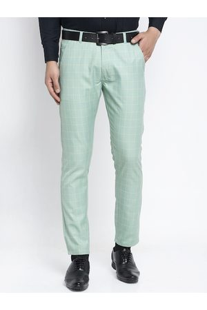 JAINISH Men Sea Green Slim Fit Checked Formal Trousers