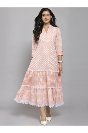 Get Glamr Women Printed Dresses - Women Peach-Coloured Floral Printed A-Line Ethnic Dress With Matching Mask