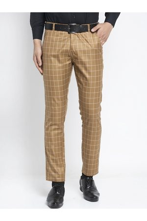 JAINISH Men Camel Brown Slim Fit Checked Formal Trousers