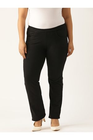 Revolution Women Plus Size Black Knitted Easy Wash Relaxed Fit High-Rise Regular Trousers