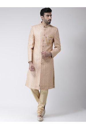 SG RAJASAHAB Men Peach-Coloured & Beige Sherwani Set