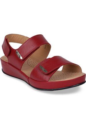 Scholl Women Red Solid Leather Comfort Heels