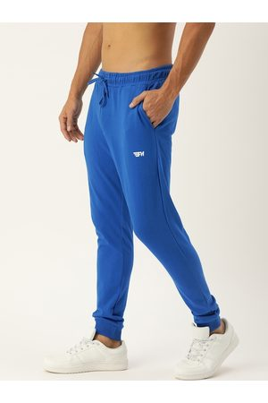 Flying Machine Men Blue Solid Straight-Fit Joggers