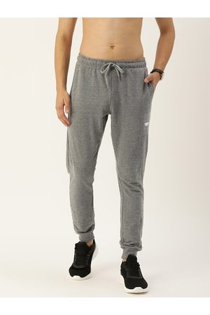 Flying Machine Men Grey Melange Solid Straight-Fit Joggers