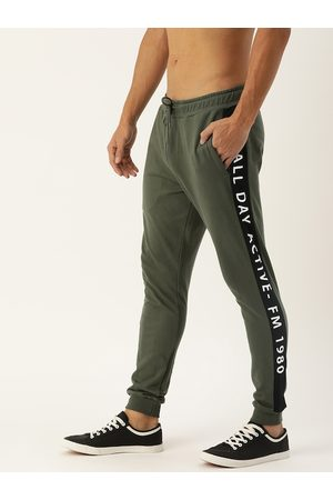 Flying Machine Men Olive Green Solid Straight-Fit Joggers with Side Stripe