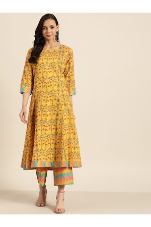 Sangria Women Mustard Yellow & Pink Pure Cotton Floral Printed Kurta with Trousers