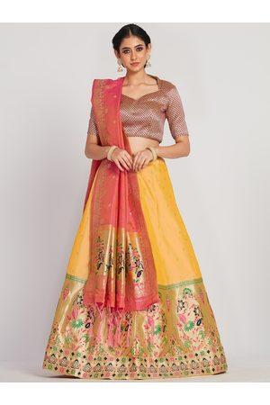 Mimosa Women Yellow & Pink Semi-Stitched Lehenga With Unstitched Blouse & Dupatta